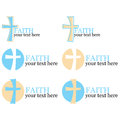 Set Of 6 Logos With Cross/religious Theme Royalty Free Stock Images - 26784099