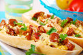 Ciabatta Stuffed With Chanterelle,eegs And Cheese Royalty Free Stock Photography - 26849727