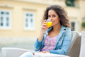 Attractive Woman With Orange Juice Royalty Free Stock Image - 26850266