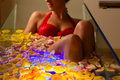 Woman Bathing In Spa With Color Therapy Stock Images - 26868984