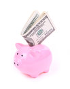 Money Dollar Bills And Piggy Bank Royalty Free Stock Photo - 26893915