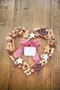 Heart-shaped Frame Made Of Cookies And Nuts For Ch Stock Image - 26909651