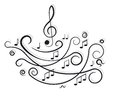 Musical Notes. Ornament With Swirls. Stock Image - 26926501