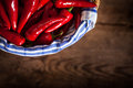 Red Chili Peppers In Basket Stock Photo - 26926590