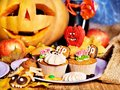 Halloween Table With Trick Or Treat Royalty Free Stock Photo - 26947645