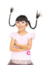 Portrait Funny Asian Little Girl With Pigtail Hair Stock Photography - 26950892