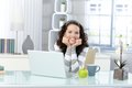 Happy Woman In Study Stock Image - 26973541