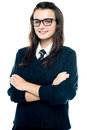 Profile Shot Of Pretty Bespectacled Teenager Stock Image - 26978211
