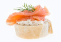 Salmon On A Baguette Against White Stock Images - 26991074