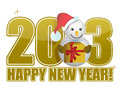 2013 Happy New Year Snowman Text Stock Photography - 27003852