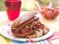 Sandwich With Grilled Vegetables And Sausage Royalty Free Stock Photo - 27006885