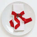 Table Setting With Red Christmas Ribbon Royalty Free Stock Photography - 27007477