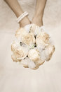 Beauty Wedding Bouquet Of Roses In A Bride Hands Royalty Free Stock Photography - 27039037