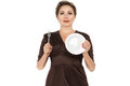 Woman Holding Dish And Fork Stock Image - 27041711