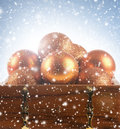 Beautiful Christmas Balls In A Brown Chest Royalty Free Stock Photo - 27046655
