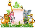 Animal Cartoon With Blank Sign Stock Images - 27048234