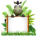 Cute Zebra Cartoon With Blank Sign Stock Images - 27048304