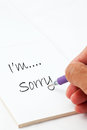 Sorry Hand Write Writing Stock Photography - 27054562