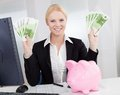 Businesswoman Holding Euro Currency Notes Royalty Free Stock Photography - 27066207