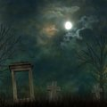 Spooky Halloween Graveyard With Dark Clouds Royalty Free Stock Photos - 27072628