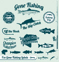 Gone Fishing Labels And Stickers Royalty Free Stock Images - 27083869