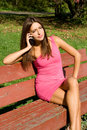 Sexy Girl Talking By Phone Royalty Free Stock Image - 27085626