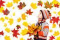 Child In Autumn Leaves. Maple Fall Over White Stock Photo - 27087900