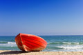 Red Boat On Beach Stock Images - 27090784