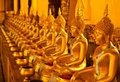 Row Of Golden Buddha Statue Royalty Free Stock Image - 27114186