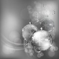 Christmas Baubles With Snowflake In Silver Royalty Free Stock Photo - 27116305