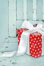 Red Gift Box With White Bow Stock Images - 27117414