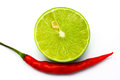Fresh Ripe Lime And Red Hot Chili Pepper Royalty Free Stock Photo - 27124455