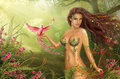 Fantasy Woman Fairy And Paradise Bird On Background Nature Royalty Free Stock Image - 27127526