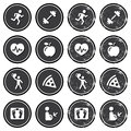 Health And Fitness Icons Retro Labels Set Royalty Free Stock Photo - 27134885