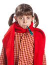 A Young Girl With A Thermometer Stock Photos - 27140903