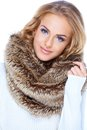 Gorgeous Blond Woman Wearing Fur Scarf And Smiling Royalty Free Stock Photography - 27142247