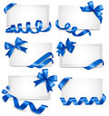 Set Of Gift Card Notes With Blue Bows With Ribbons Royalty Free Stock Images - 27152289