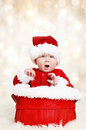 Happy Santa Christmas Baby Stock Images - 27154384