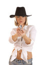 A Young Blond In A Cowboy Hat Aiming With A Gun Stock Photography - 27167712