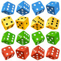 Vector Red, Yellow, Green And Blue Dice Set Stock Photography - 27182452