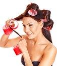 Woman Wear Hair Curlers On Head. Stock Images - 27184114