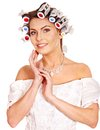 Woman Wear Hair Curlers On Head. Stock Images - 27184274