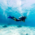 Silhouette Of Scuba Diver Near Sea Bottom Stock Photos - 27204713