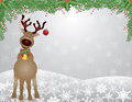 Santa Reindeer Snow Scene With Garland Royalty Free Stock Photos - 27209718