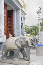 Hindu Temple Entrance Elephant Stone Statues Royalty Free Stock Photography - 27241897