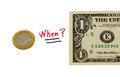 Concept Compare Usd Dollar And Euro Coin Money Royalty Free Stock Photography - 27253267