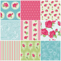 Set Of Seamless Floral Rose Backgrounds Royalty Free Stock Photo - 27281315