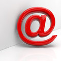 Red At-Sign In 3D Royalty Free Stock Photo - 27284175