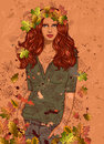 Girl With Autumn Leaves Stock Photos - 27302833