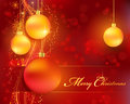Red Golden Christmas Bokeh Background With Baubles Royalty Free Stock Photo - 27309905